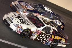 Dale Jarrett races with Rusty Wallace.