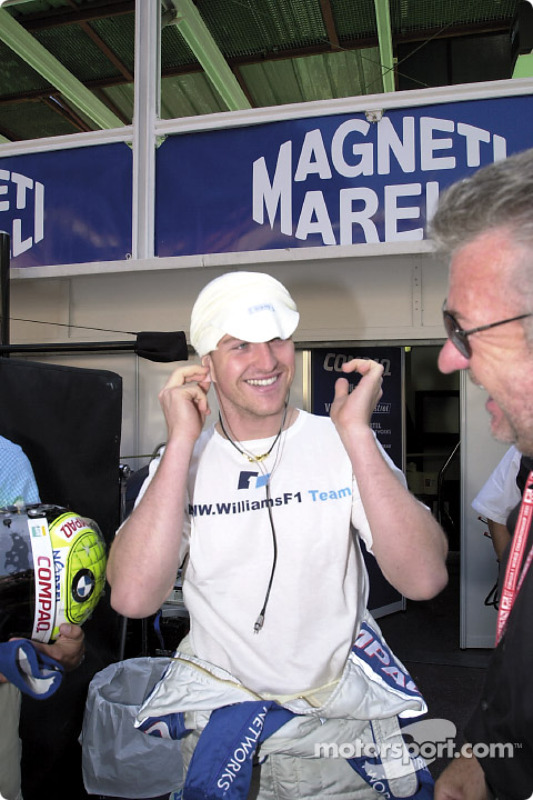 Ralf Schumacher and manager Willy Webber, before the race