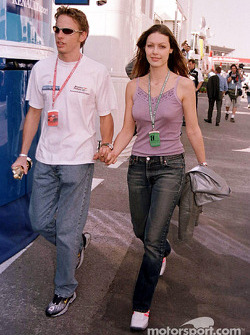 Jenson Button with his girlfriend Louise