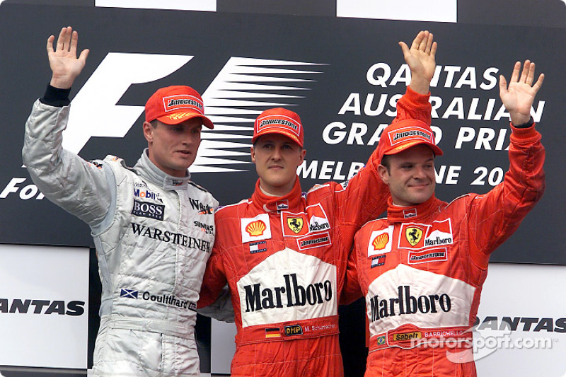 David Coulthard, Michael Schumacher y Rubens Barrichello