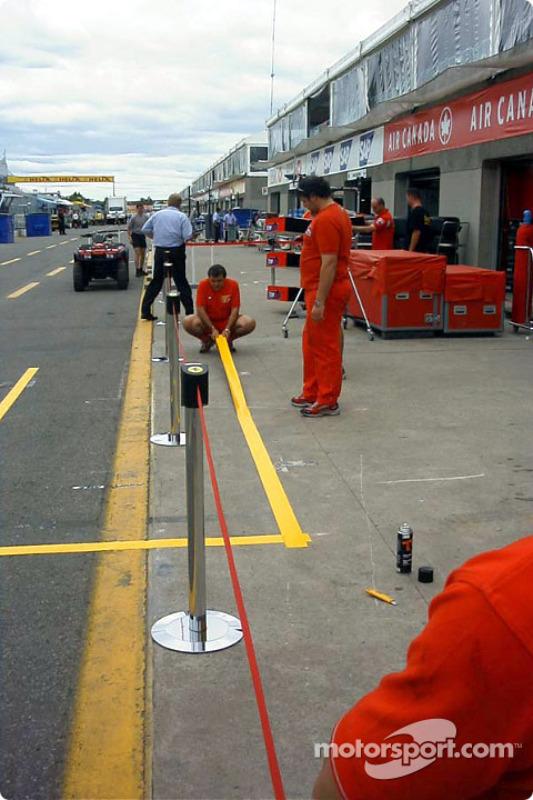 Ferrari pit stop area