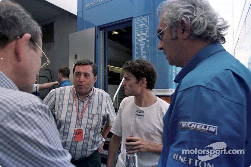 Christian Contzen, Patrick Faure, Giancarlo Fisichella and Flavio Briatore
