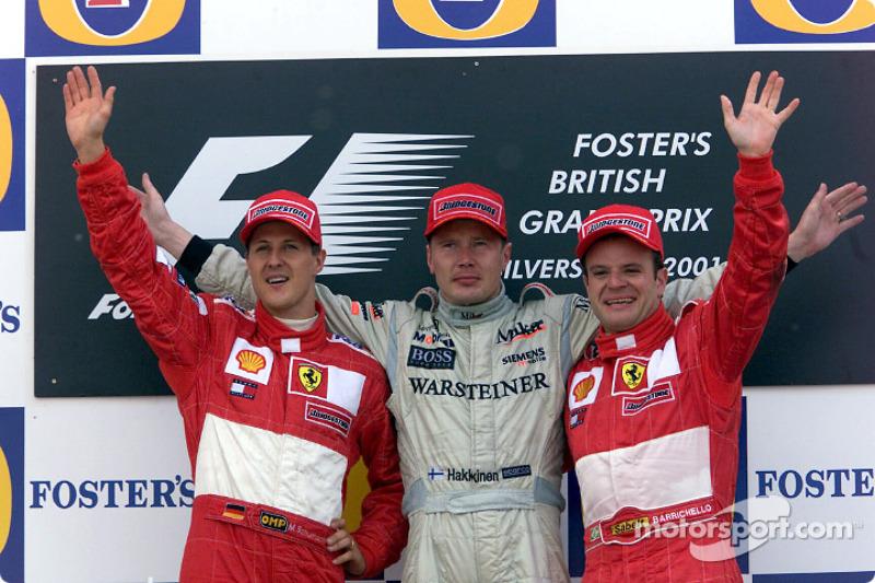 2001: 1. Mika Häkkinen, 2. Michael Schumacher, 3. Rubens Barrichello