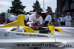 Rinaldo Capello discussing the Mid-Ohio circuit with Max Papis