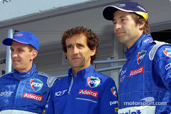Luciano Burti, Alain Prost and Heinz-Harald Frentzen