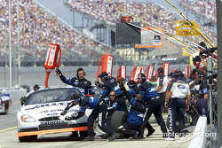 Rookie Ryan Newman pits for service on his way to his first career BGN win