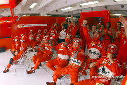 Team Ferrari near the end of the race
