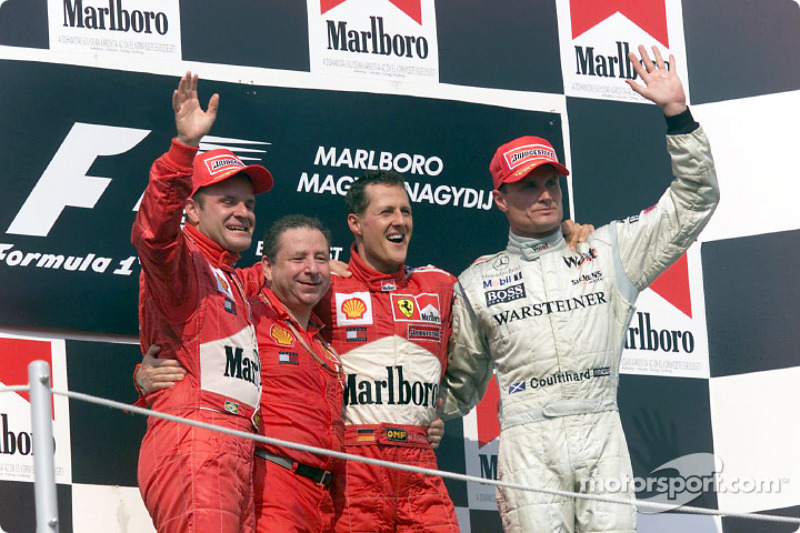 2001: 1. Michael Schumacher, 2. Rubens Barrichello, 3. David Coulthard