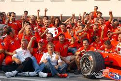 Michael Schumacher celebrating with Team Ferrari