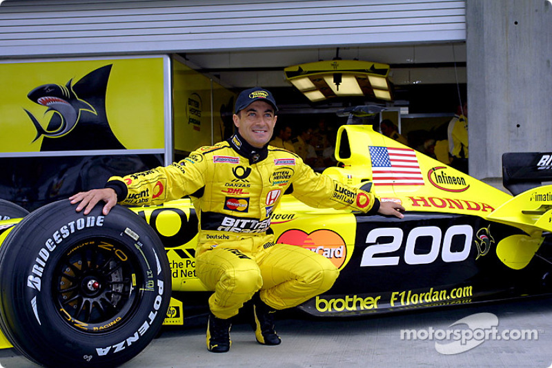 Jean Alesi celebrating his 200th Grand Prix