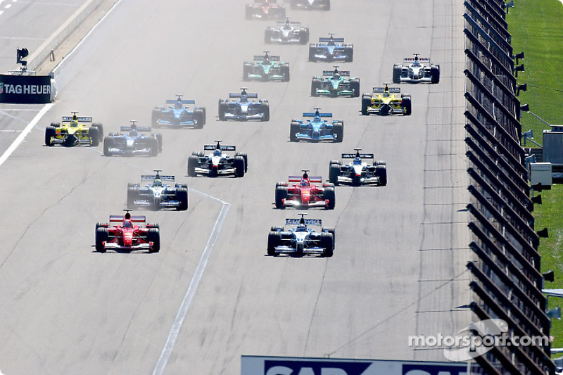 The start: Michael Schumacher and Juan Pablo Montoya side by side