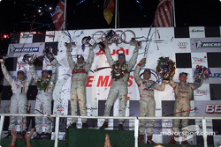 The podium: Emanuele Pirro and Frank Biela, with Patrick Lemarié, Stefan Johansson, Johnny Herbert and Andy Wallace