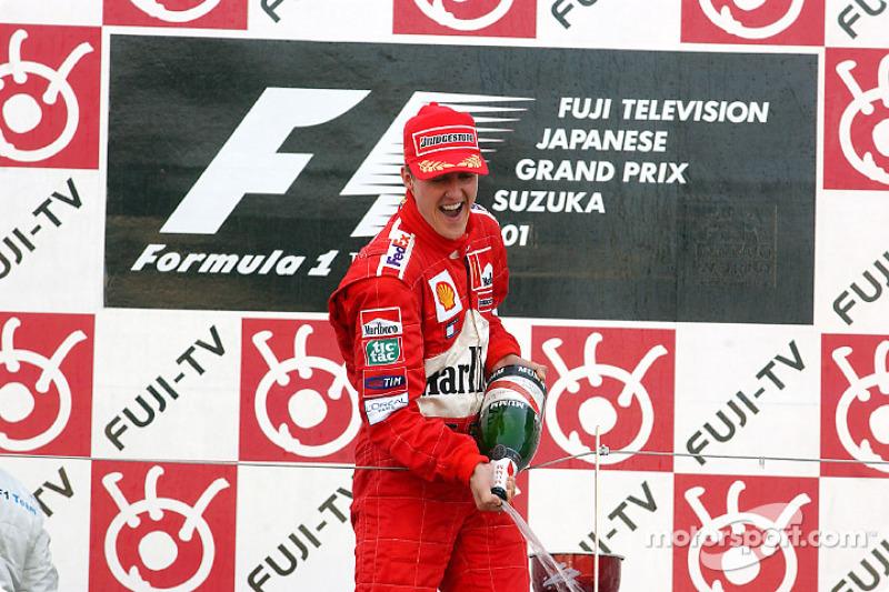 Michael Schumacher celebrating on the podium