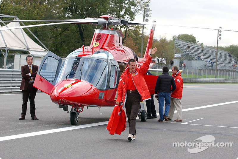 Michael Schumacher arriving