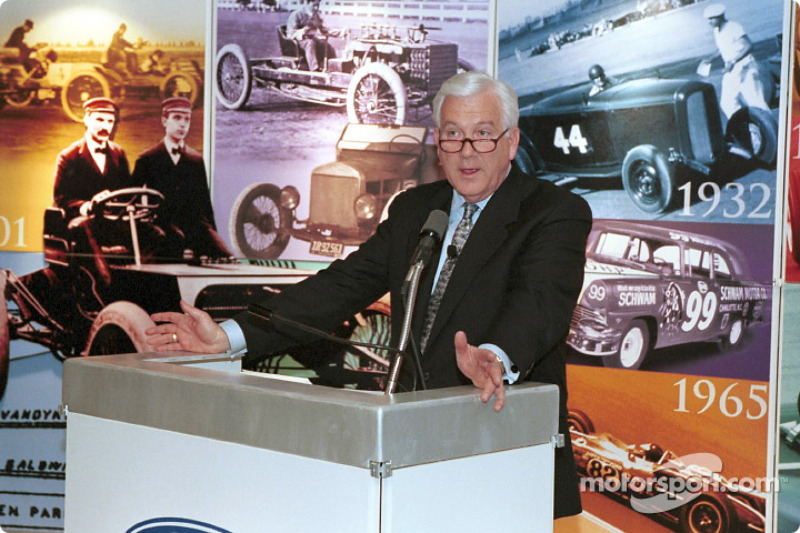 Jim O'Connor, Ford Vice President, President Ford Division, announces the year-long 100th Anniversary celebration of Ford's involvement with racing