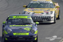 The #15 Motorsports Technologies Porsche tries to hold off the #11 Powell Motorsports Corvette
