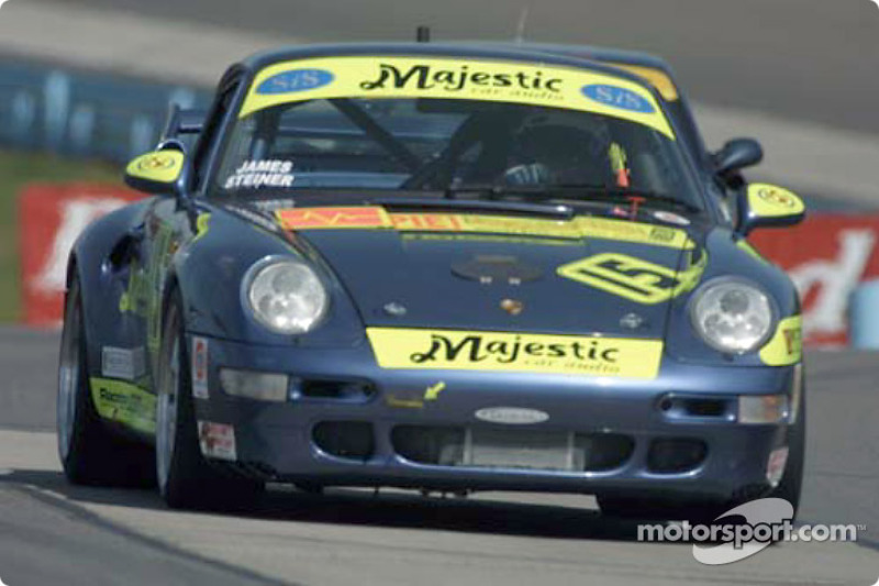 The #15 Motorsport Technologies Porsche runs through the esses