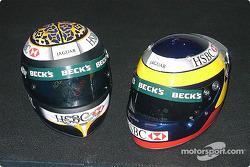 Eddie Irvine and Pedro de la Rosa's helmets