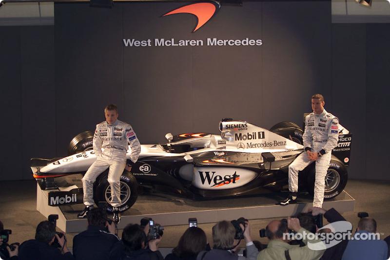 Kimi Raikkonen and David Coulthard with the new McLaren Mercedes MP4-17