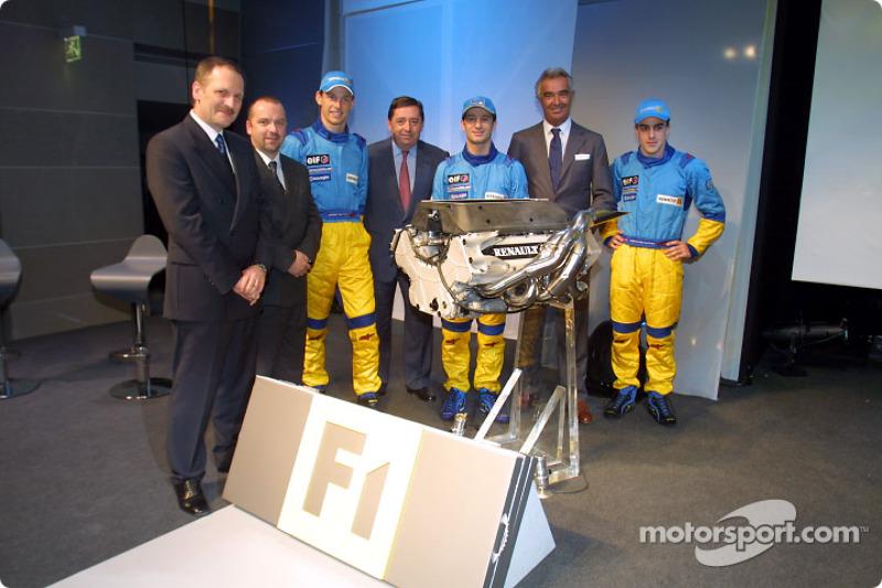 Jean-Jacques His, Mike Gascoyne, Jenson Button, Patrick Faure, Jarno Trulli, Flavio Briatore and Fernando Alonso