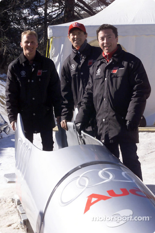 The Audi works pilots Johnny Herbert, Rinaldo Capello and Christian Pescatori dared riding on ice in the Audi bobsled down the Olympic bob run in St. Moritz