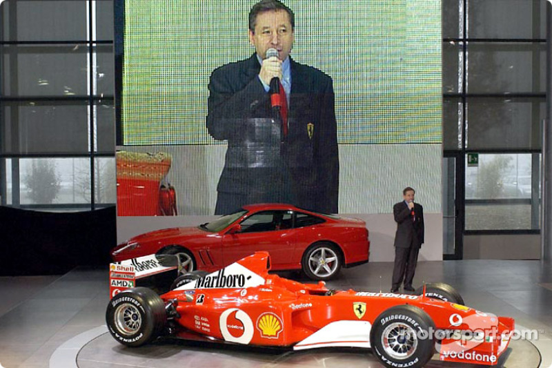Jean Todt presenting the new Ferrari F2002
