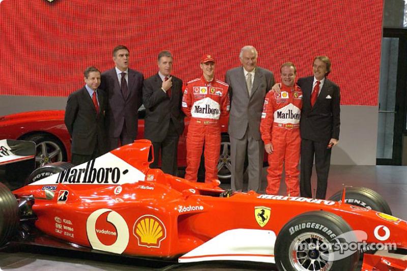 Jean Todt, Paolo Cantarella, Piero Lardi Ferrari, Michael Schumacher, Paolo Fresco, Rubens Barrichello and Luca di Montezemolo