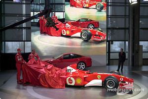Michael Schumacher and Rubens Barrichello unveiling the new Ferrari F2002