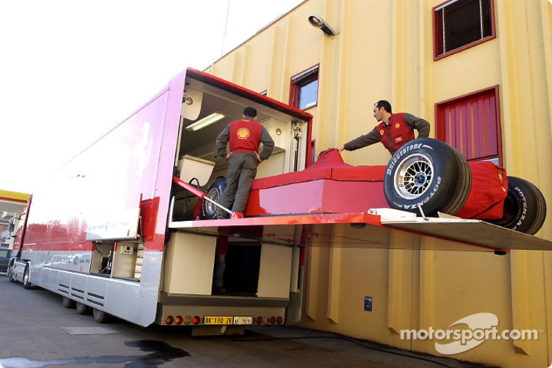 Team Ferrari leaving for Australia, at the Maranello factory
