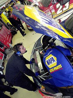 Greg Osborne and Chad Walter prepare the NAPA Chevrolet