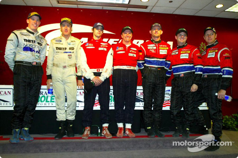 The overall podium finishers at the Grand American 400