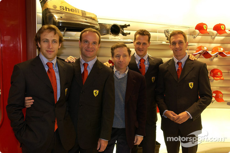 Official opening of Ferrari Store, Maranello: Luca Badoer, Rubens Barrichello, Jean Todt, Michael Sc