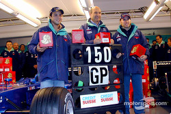 150 Grands Prix pour l'équipe Sauber: Felipe Massa, Peter Sauber et Nick Heidfeld