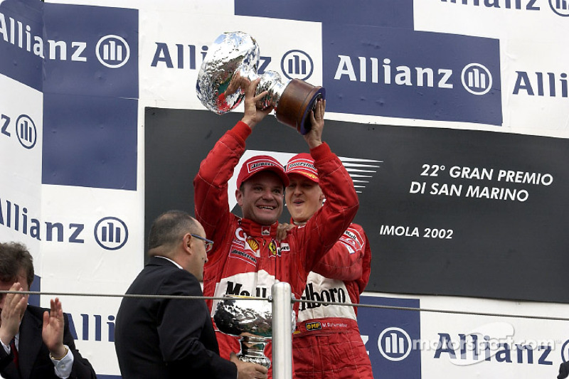 The podium: Rubens Barrichello and Michael Schumacher