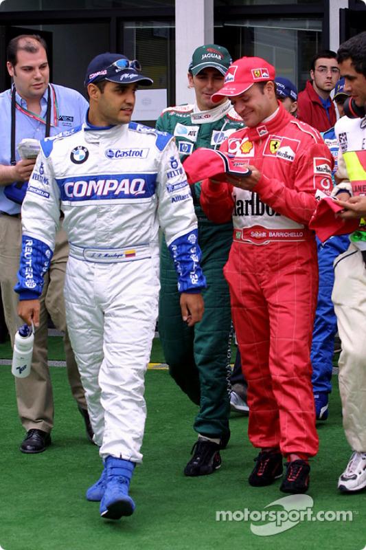 Drivers parade: Juan Pablo Montoya and Rubens Barrichello