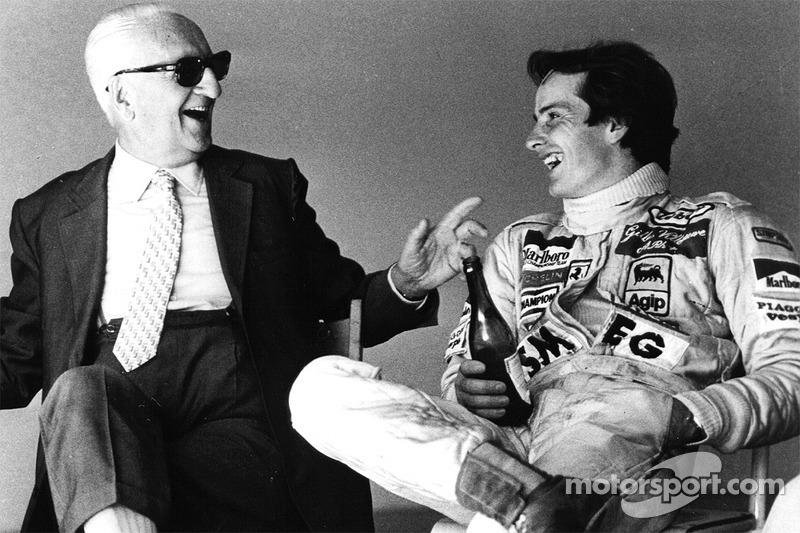 Енцо Феррарі і його духовний син Жиль Вільньов розпивають Lambrusco після тестів