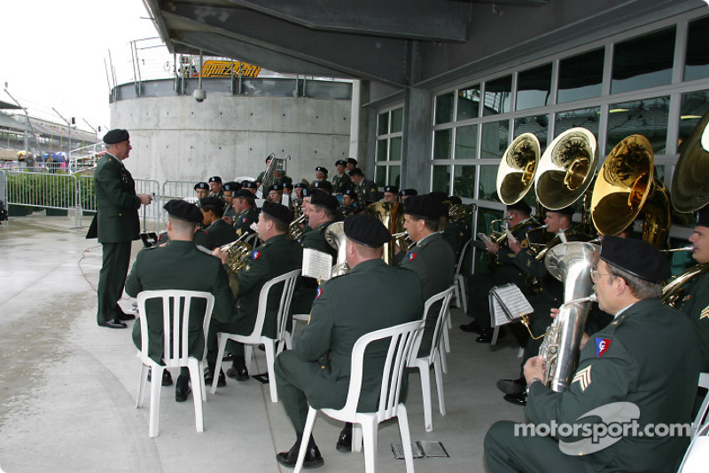 Band plays music during the ceremonies for Armed Forces Day