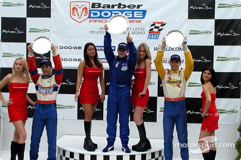 The podium: race winner A.J. Allmendinger, Marc Breuers and Rafael Sperafico