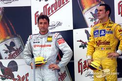 The podium: race winner Laurent Aiello with Bernd Schneider