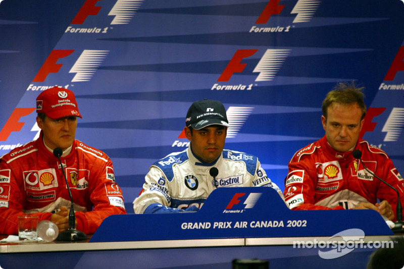 FIA Saturday press conference: pole winner Juan Pablo Montoya with Michael Schumacher and Rubens Bar