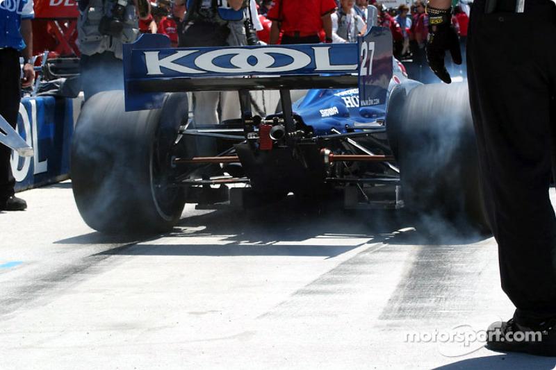 Dario Franchitti leaving the pit