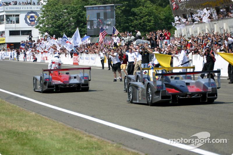 El ganador general Emanuele Pirro con los otros dos Audis