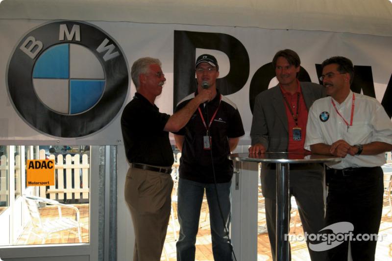 Ralf Schumacher and BMW Motorsport Director Dr. Mario Theisse with ADAC sports director Hermann Tomczyk
