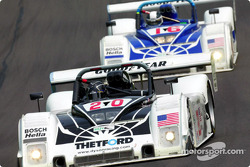 The Dyson Racing Team #16 and #20 Ford Riley & Scotts exchanged the lead in the first half of the race