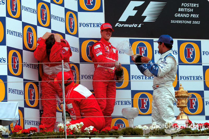 2002. Подіум: 1. Міхаель Шумахер, Ferrari. 2. Рубенс Баррікелло, Ferrari. 3. Хуан-Пабло Монтойя, Williams-BMW