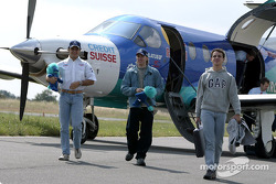 Felipe Massa and Nick Heidfeld arriving in Magny-Cours