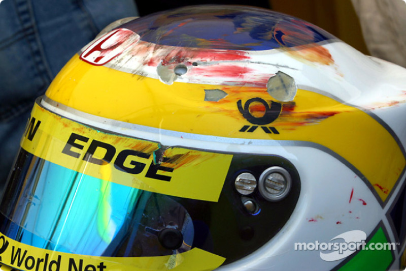 Giancarlo Fisichella's helmet after the accident