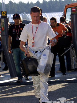 David Coulthard arriving at the track