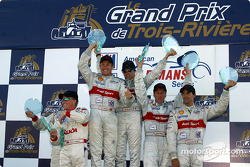 The podium: overall and LMP 900 winners Rinaldo Capello and Tom Kristensen with Stefan Johansson, Johnny Herbert, Emanuele Pirro and Frank Biela