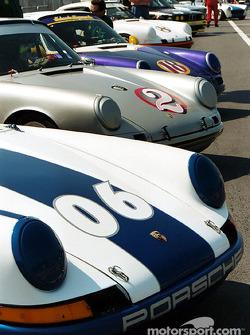 Porsches aligned